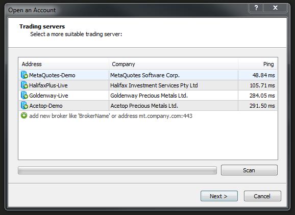 Liste des serveurs Metatrader